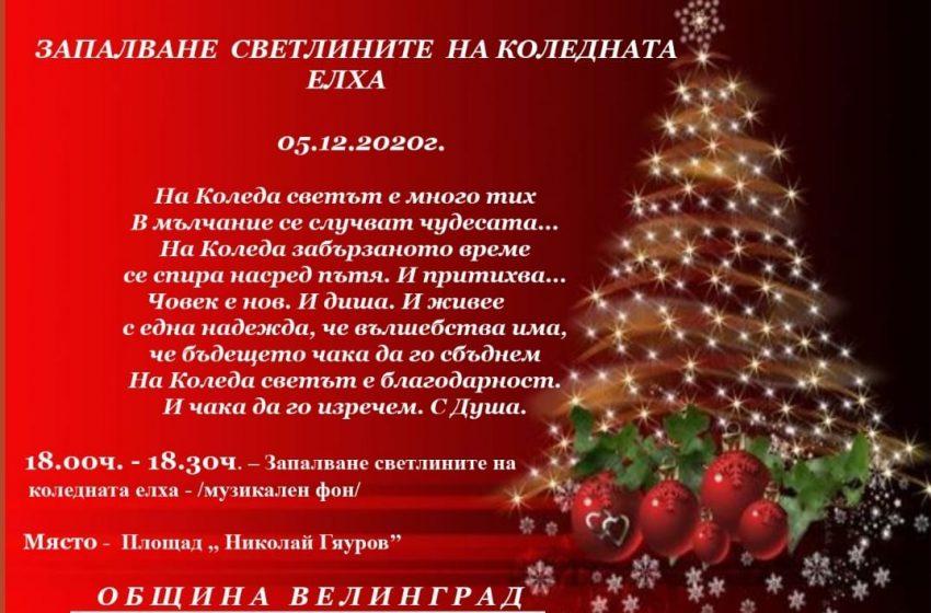 """Велинград 5 декември 18 ч. – пл. """"Н. Гяуров"""" ще бъдат запалени светлините на Коледната елха"""